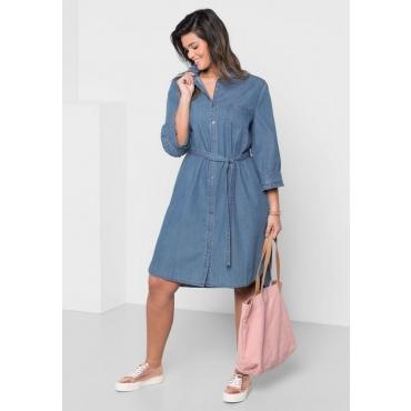Große Größen: Jeanskleid mit Rüschen, blue Denim, Gr.40-58
