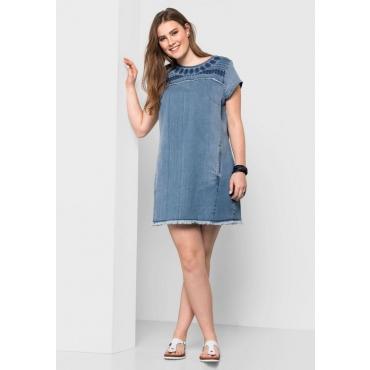 Große Größen: Jeanskleid mit Stickerei, light blue Denim, Gr.40-58