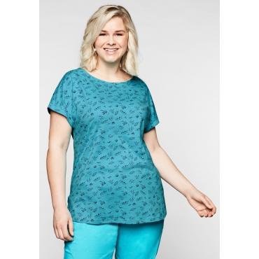 Jersey-Shirt mit Minimal-Alloverprint, eistürkis, Gr.44/46-56/58