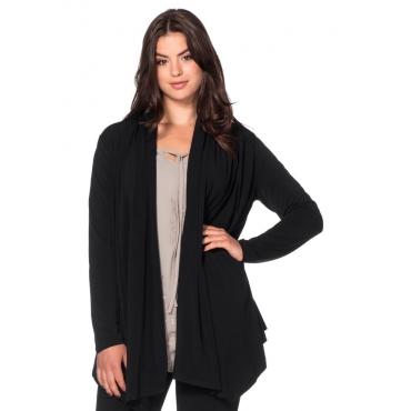 Große Größen: Jerseyjacke in Zipfelform, schwarz, Gr.40/42-56/58