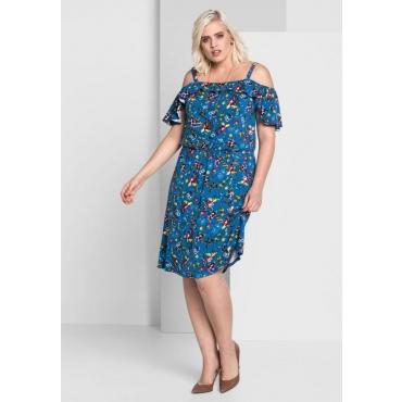 Große Größen: Jerseykleid im Carmenstil, blau bedruckt, Gr.44-58