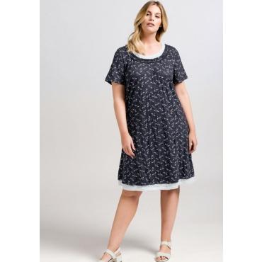 Große Größen: Jerseykleid im Lagenlook, marine bedruckt, Gr.44-58