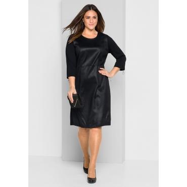 Große Größen: Jerseykleid im Materialmix, schwarz, Gr.44-58