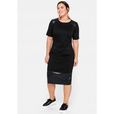 Jerseykleid im Materialmix, schwarz, Gr.44-58