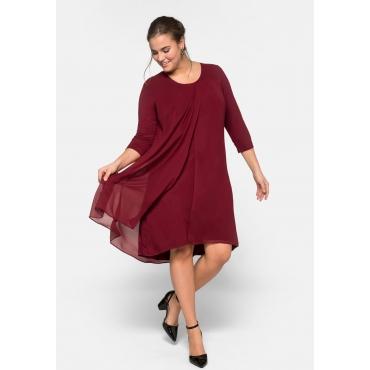 Jerseykleid im Materialmix und Lagenlook, rubinrot, Gr.44-58