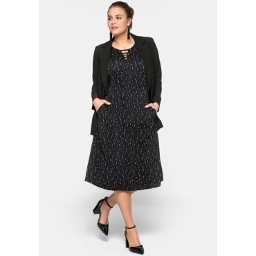 Jerseykleid im Minimalprint mit Cut-outs, schwarz bedruckt, Gr.44-58