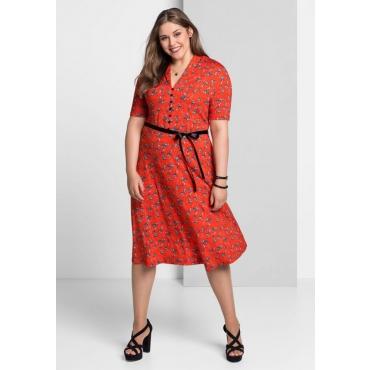 Große Größen: Jerseykleid in A-Linie mit Alloverdruck, rot bedruckt, Gr.40-58