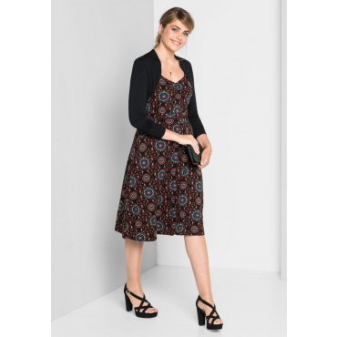 Große Größen: Jerseykleid in A-Linie mit Alloverdruck, schwarz-rot, Gr.40-58