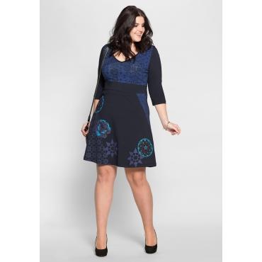 Große Größen: Jerseykleid in A-Linie mit Druck, dunkelblau bedruckt, Gr.40-58