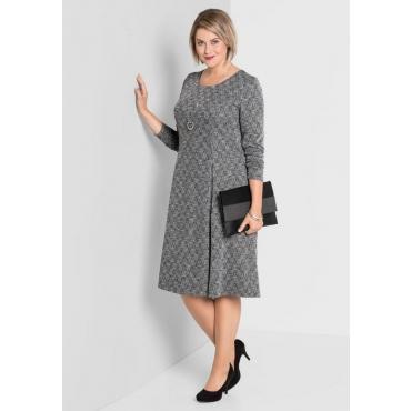 Große Größen: Jerseykleid in A-Linie, schwarz-offwhite, Gr.40-58
