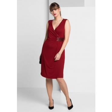 Große Größen: Jerseykleid in femininer Wickeloptik, rubinrot, Gr.40-58