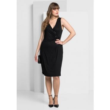 Große Größen: Jerseykleid in femininer Wickeloptik, schwarz, Gr.40-58