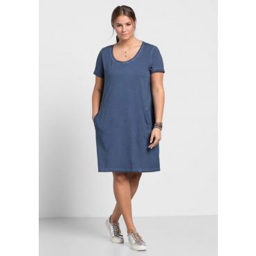 Große Größen: Jerseykleid in Oil-washed-Optik, rauchblau, Gr.40/42-56/58