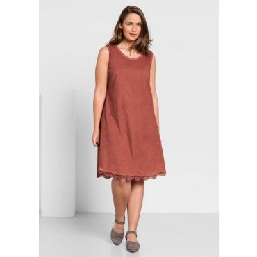 Große Größen: Jerseykleid in Oil-washed-Optik, rostrot, Gr.44-58