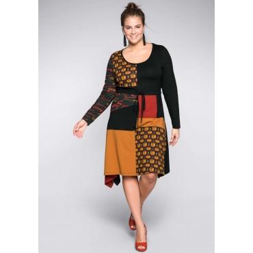 Große Größen: Jerseykleid in Patchoptik mit Zierknopfleiste, braun bedruckt, Gr.44-58