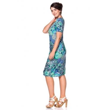Große Größen: Jerseykleid in Wickeloptik, mint bedruckt, Gr.40-58