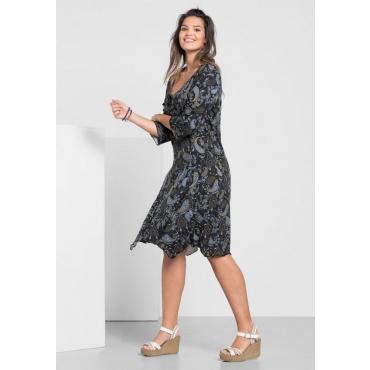 Große Größen: Jerseykleid in Zipfelform mit Paisley-Druck, schwarz bedruckt, Gr.40-58