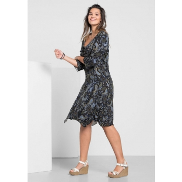 Große Größen: Jerseykleid in Zipfelform, schwarz bedruckt, Gr.40-58