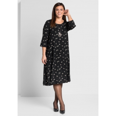 Große Größen: Jerseykleid mit 3/4-Ärmeln, schwarz bedruckt, Gr.44-58