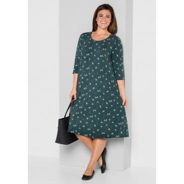 Große Größen: Jerseykleid mit 3/4-Ärmeln, tiefgrün bedruckt, Gr.44-58