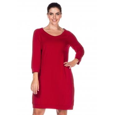 Große Größen: Jerseykleid mit 3/4-Raglanärmeln, rot, Gr.40-58