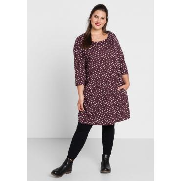 Große Größen: Jerseykleid mit Alloverdruck, aubergine, Gr.44-58