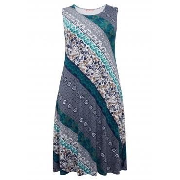 Jerseykleid mit Alloverdruck, in A-Linie aus Viskose, blau bedruckt, Gr.44-58