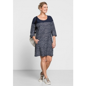 Große Größen: Jerseykleid mit Alloverdruck, marine bedruckt, Gr.40-58