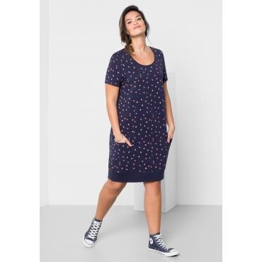 Große Größen: Jerseykleid mit Alloverdruck, marine, Gr.40-58