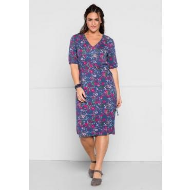 Große Größen: Jerseykleid mit Alloverdruck, rauchblau bedruckt, Gr.44-58
