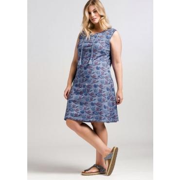 Große Größen: Jerseykleid mit Alloverdruck, rauchblau, Gr.44-58
