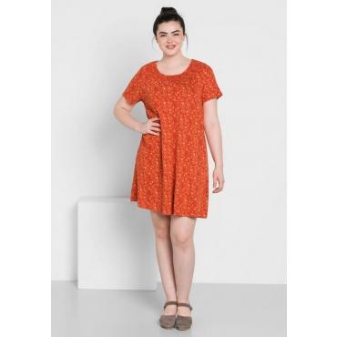 Große Größen: Jerseykleid mit Alloverdruck, rostrot, Gr.44-58
