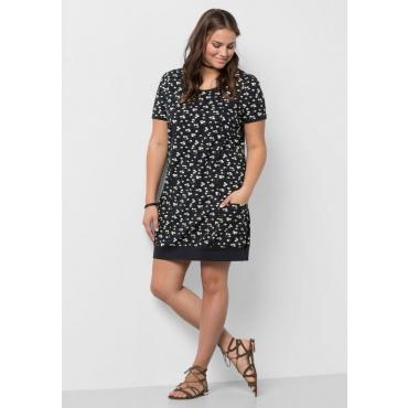 Große Größen: Jerseykleid mit Alloverdruck, schwarz bedruckt, Gr.40-58