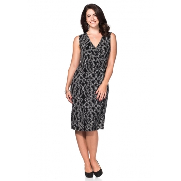 Große Größen: Jerseykleid mit Alloverdruck, schwarz-grau, Gr.40-58