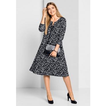 Große Größen: Jerseykleid mit Alloverdruck, schwarz-weiß, Gr.40-58