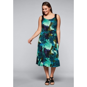 Große Größen: Jerseykleid mit Alloverdruck und Taillenband, türkis bedruckt, Gr.44-58