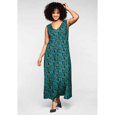 Jerseykleid mit Alloverdruck und tiefem V-Ausschnitt, grün bedruckt, Gr.44-58