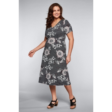 Große Größen: Jerseykleid mit Alloverdruck und V-Ausschnitt, schwarz bedruckt, Gr.44-58