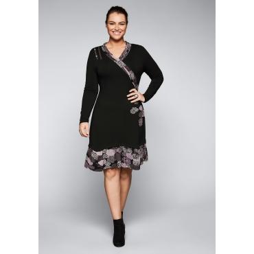 Große Größen: Jerseykleid mit Applikationen, schwarz bedruckt, Gr.44-58