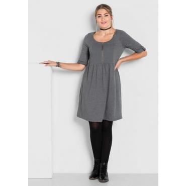 Große Größen: Jerseykleid mit Biesen, dunkelgrau meliert, Gr.40-58