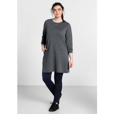 Große Größen: Jerseykleid aus Funktionsmaterial, grau meliert, Gr.44-58