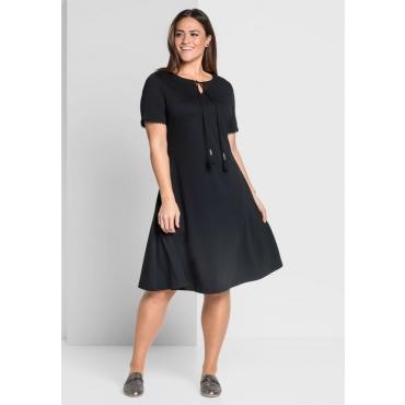 Große Größen: Jerseykleid in A-Linie mit Bindeband, schwarz, Gr.44-58