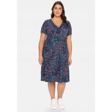 Jerseykleid mit Blumendruck, leicht tailliert, marine bedruckt, Gr.40-58