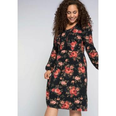 Große Größen: Jerseykleid mit Blumendruck und Samtband, schwarz bedruckt, Gr.44-58