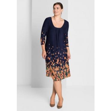 Große Größen: Jerseykleid mit Bordürendruck, marine, Gr.40-58
