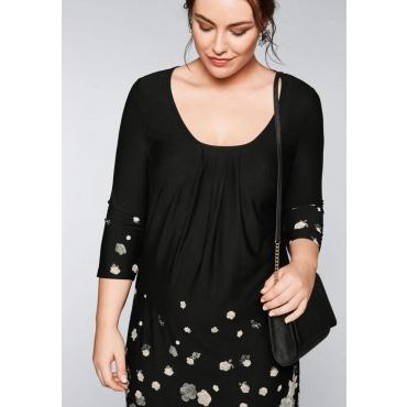 Große Größen: Jerseykleid mit Bordürendruck, schwarz-grau, Gr.44-58