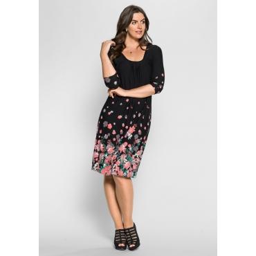 Große Größen: Jerseykleid mit Bordürendruck, schwarz-rosé, Gr.40-58