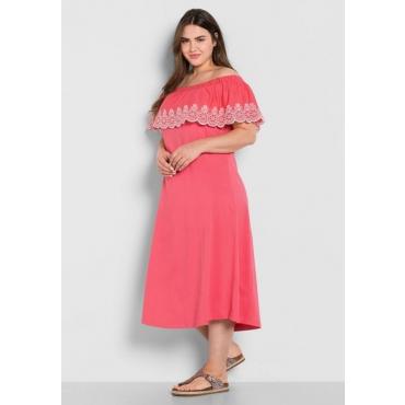 Große Größen: Jerseykleid mit Carmen-Ausschnitt, guave, Gr.44-58