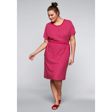 Große Größen: Jerseykleid mit Cut-Outs im Streifendesign, rot-offwhite, Gr.44-58