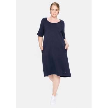 Jerseykleid mit dekorativem Rundhalsausschnitt, nachtblau, Gr.40-58
